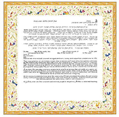 Mickie Ketubah-Birds of Paradise-Yellow