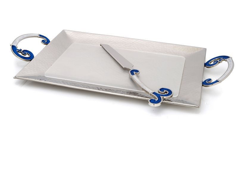 Classic Giftware Challah tray w Knife Enamel Finish Blue-White