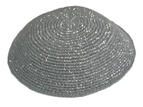 Knit Yarmulke - Grey w/Silver Threads-Item#KN-20