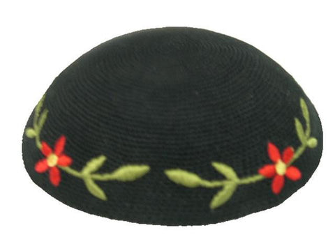 Knit Yarmulke - Black w/Green Leaves and Red Flowers-Item#KN-24