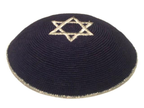 Knit Yarmulke - Navy w/Silver Star of David & Trim-Item#KN-29