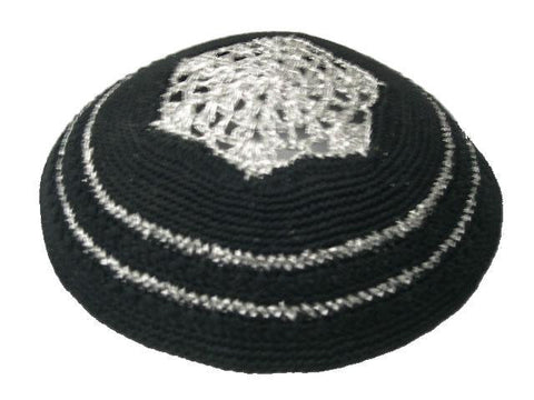 Knit Yarmulke - Black w/Silver Crocheted Design and Trim-Item#KN-47