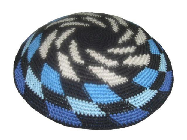 Knit Yarmulke - Black w/Shades of Blue & Off-White Whirlwind Design-Item#KN-8