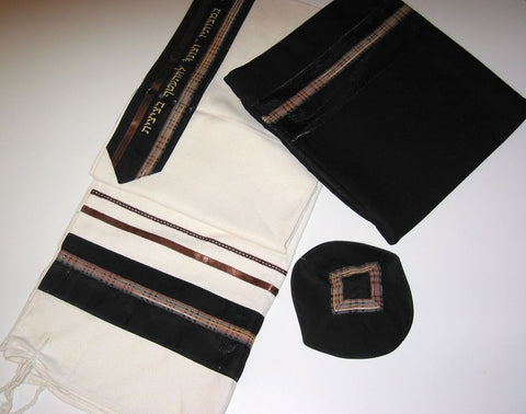 Eretz Men's Tallit Set (Brown Plaid)