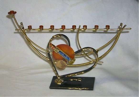 Heart Wedding Glass Menorah