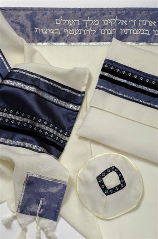 Men's Wool Tallit Set-Galilee Silk-Item#GSB11-Blue/Light Blue