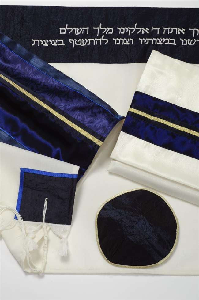 Men's Wool Tallit Set-Galilee Silk-Item#GSB653-Blue/Gold