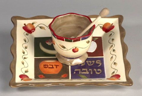 Ceramic Honey dish and Rosh Hashanah Tray