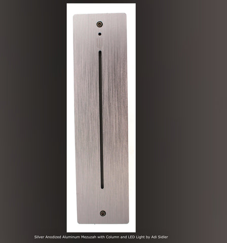 Mezuzah, Silver Anodized Aluminum with color changing LED light