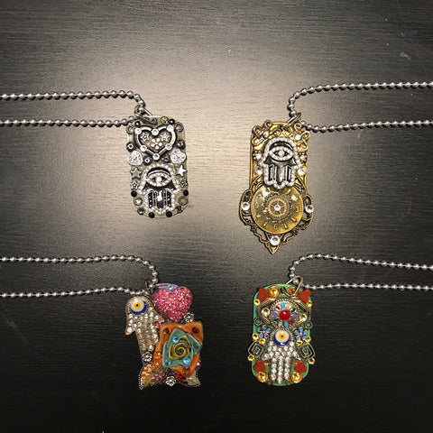 "Handmade, Crystal Enhanced, One-of-a-Kind, ""Dog Tag"" Hamsa Necklace"