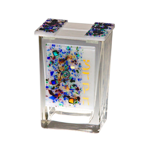 Celestial, colorful glass Tzedakah box