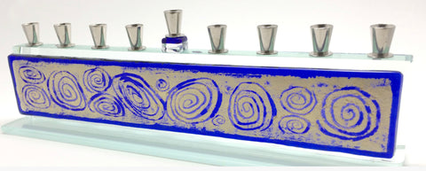 Beames Blue Swirl Menorah