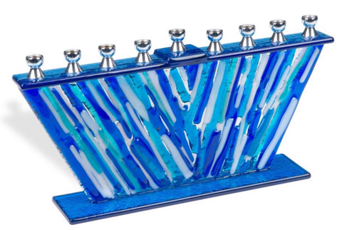 Blues Art Glass Menorah
