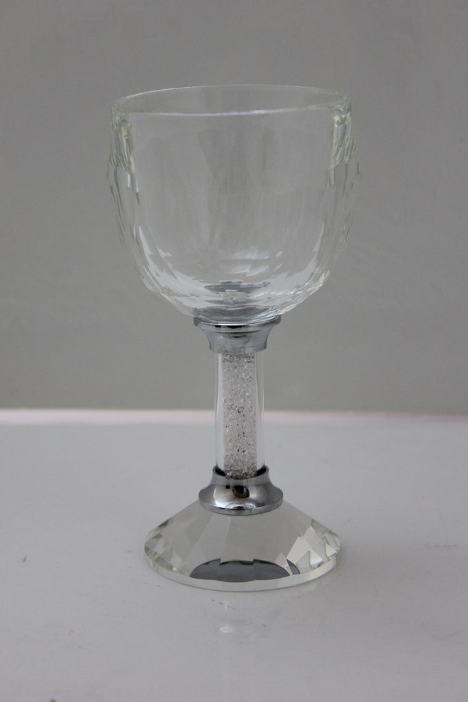 Crystal Glass Kiddush Cup Filled with Crystals Resembling Diamond Dust