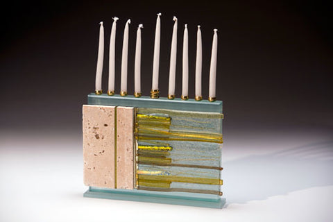 K4 Glassart-Western Wall Menorah-Item # FM54-IC/T