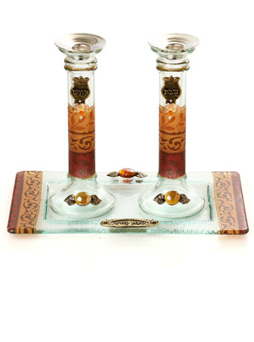 Lily Art-Candlesticks w/tray-brown & gold-Item#300796-5