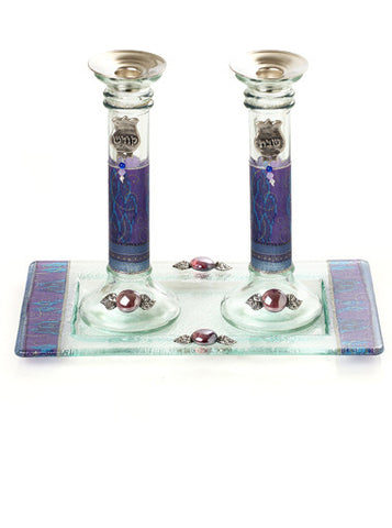 Lily Art-Candlesticks w/tray-purple-Item#300796-4