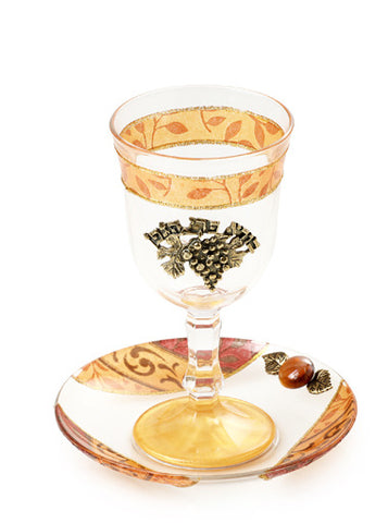 Lily Art- Kiddush Cup-burgundy, brown & gold-Item#300600-5
