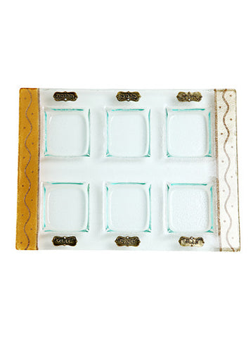 Lily Art-Rectangular Seder Plate-gold & ivory-Item#501671-13