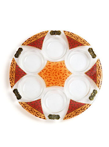 Lily Art- Seder Plate-burgundy, brown & gold-Item#301666-5