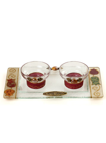 Lily Art-Tea Light Candlesticks w/tray-burgundy & gold/floral tray-Item#500808-6