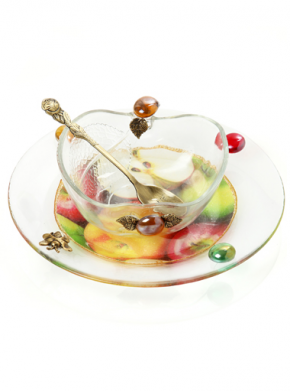Lily Art-Honey dish w/small plate-Item#- 307575-1