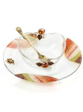 Lily Art-Honey dish w/small plate-Item#- 307575-2