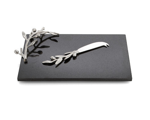 Michael Aram Olive Branch Challah/Cheese Board & Knife-Item#112164