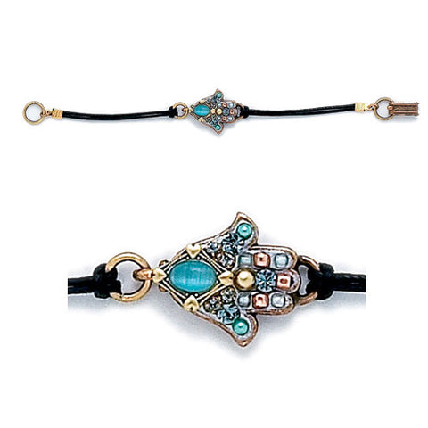 Michal Golan-Hamsa Bracelet-Small Blue Cat's Eye-Item#SB847
