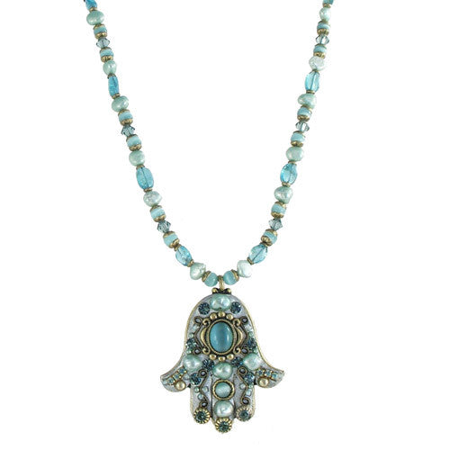 Michal Golan-Hamsa Necklace-Large Aquatic Toned-Item#N846