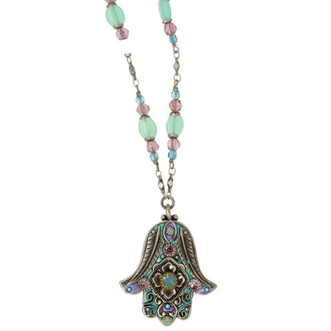 Michal Golan-Hamsa Necklace-Medium Pale Green & Purple-Item#N2783
