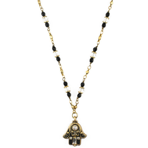 Michal Golan-Hamsa Necklace-Mini Crystal Black & Gold-Item#N2819