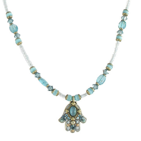 Michal Golan-Hamsa Necklace-Small Blue Cat's Eye-Item#N847
