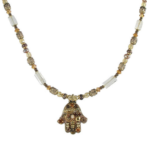Michal Golan-Hamsa Necklace-Small Multibeige-Item#N1222