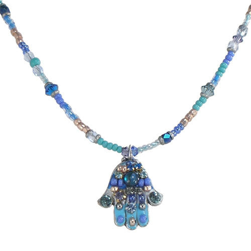 Michal Golan-Hamsa Necklace-Small Multiblue-Item#N881