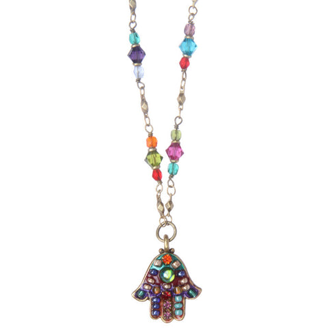 Michal Golan-Hamsa Necklace-Small Multibright-Item#N2789
