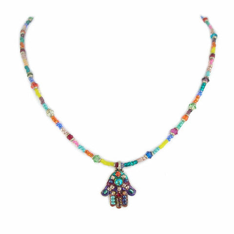Michal Golan-Hamsa Necklace-Small Multicolor-Item#N883