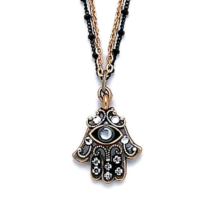 Michal Golan-Hamsa Necklace-Small Silver & Gold Crystal-Item#N2381