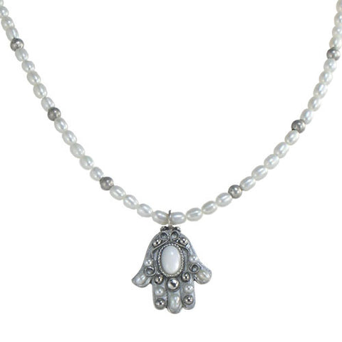 Michal Golan-Hamsa Necklace-Small Silver & Pearl-Item#N871