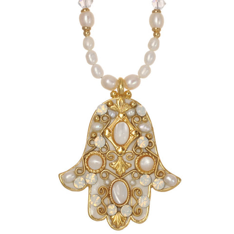 Michal Golan-Hamsa Necklace-Large Pearl & Gold-Item#N870
