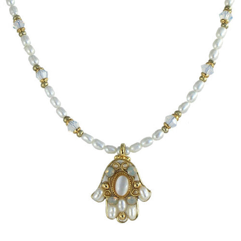 Michal Golan-Hamsa Necklace-Small Pearl & Gold-Item#N869