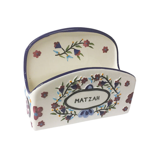Ceramic Stand-Up Hand-Painted Matzah Holder