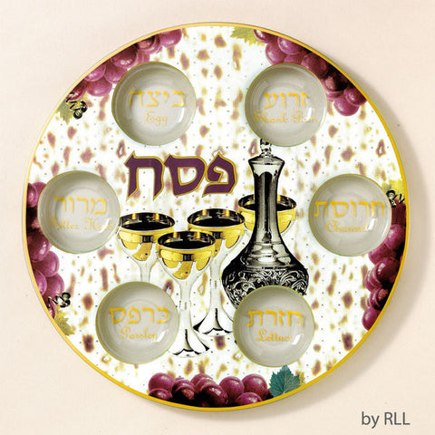 Passover Round Glass Seder Tray-Grapes & Wine-Item#PPGL-21