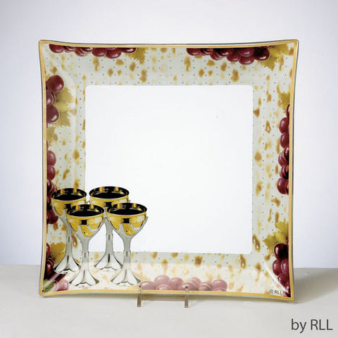 Passover Glass Matzah Tray-Grapes & Wine-Item#PPGL-25