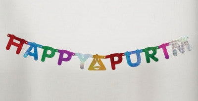"Purim-""Happy Purim"" Prismatic Banner-Item#TYP-13175"