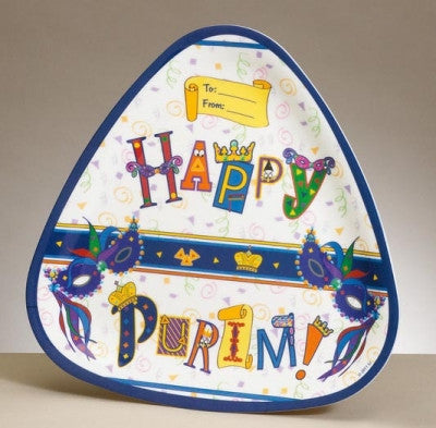 "Purim-""Happy Purim"" Triangular Melamine Tray-Item#TYP-13156"