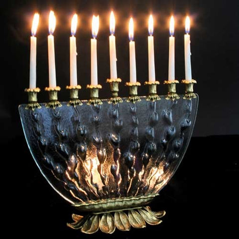 Quest-Glass Menorah-Item#-MEN08