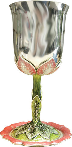 Quest-Flower Kiddush Cup-pink/green/silver-Item#-KDC02b