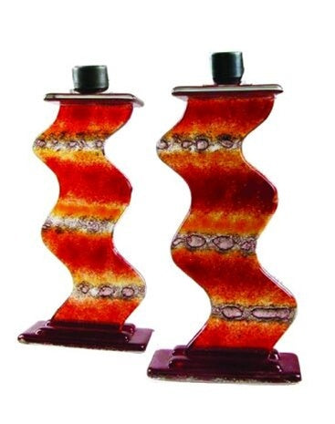 Red & Orange Glass Candlesticks-Item#2020