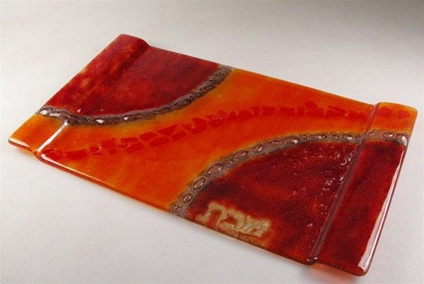 Red & Orange Glass Challah Tray-Item#2021